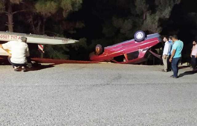 Direksiyon hakimiyetini kaybeden araç takla attı