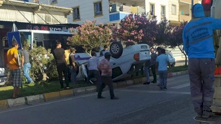 Eyyübiye'de kaza: araç takla attı!
