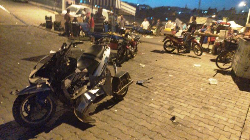Freni patlayan motosiklet kaza yaptı:1 yaralı