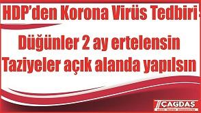 HDP'den Koronavirüs tedbiri