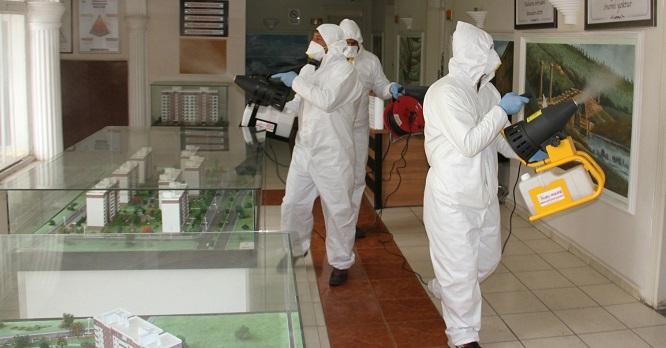 Ortak kullanım alanları dezenfekte ediliyor