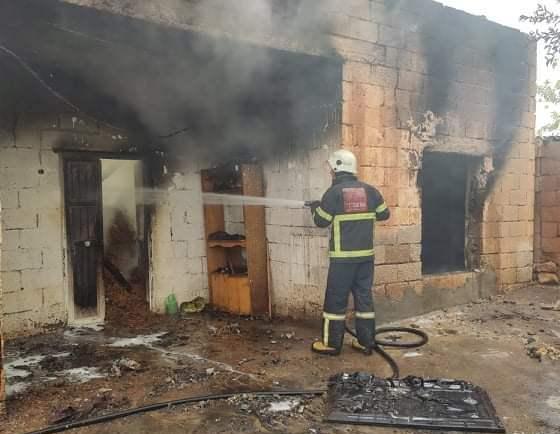 Yanan evde 1 kişi yaralandı