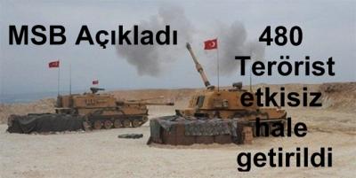 480 Terörist etkisiz hale getirildi
