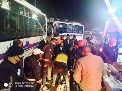 Belsan Otobüs Garajında kaza 1 yaralı