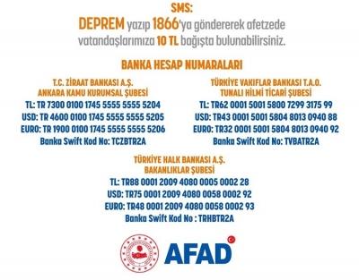 Deprem Bölgesine Yardımları AFAD Koordine Ediyor