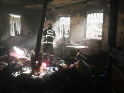 Eyyübiye'de yangın evde hasar büyük