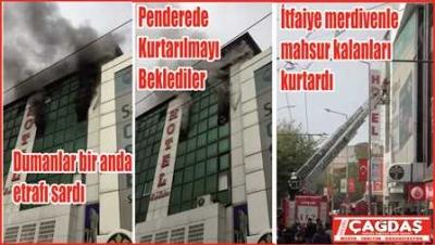 Otelde yangın paniği 3 kişi dumandan etkilendi