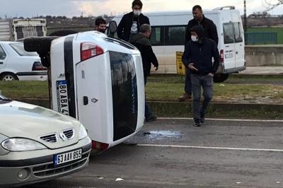 Takla atan araçta maddi hasar meydana geldi