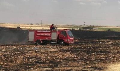 Viranşehir'de 100 dönüm buğday ekili tarla yandı